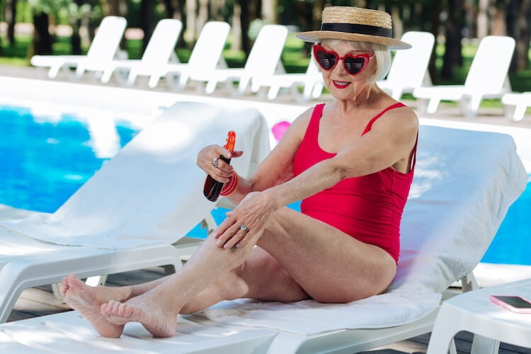 sunscreen for older woman