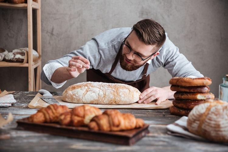 man baking