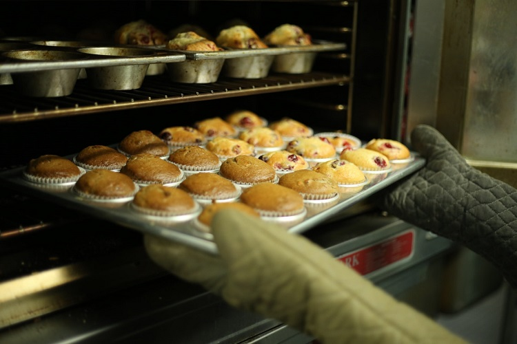 cooking muffins in a bakery