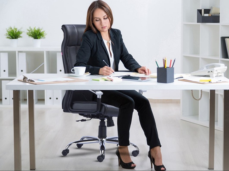 Women working on her office chair