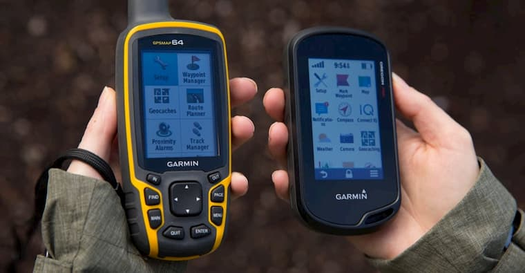 two men with handheld gps