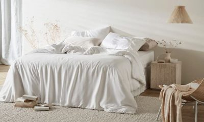 soft and comfortable bedding with white bamboo set