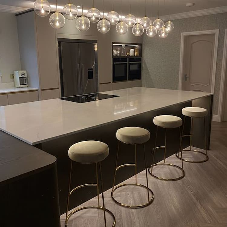 beautiful kitchen island with upholstered Bar Stools