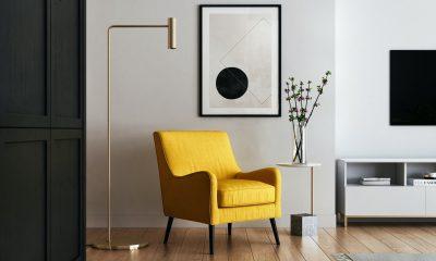 vinyl flooring armchair and frames in hallway