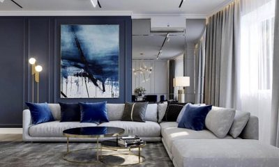 Blue interior living room