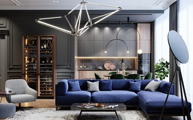 Blue sofa in a living space