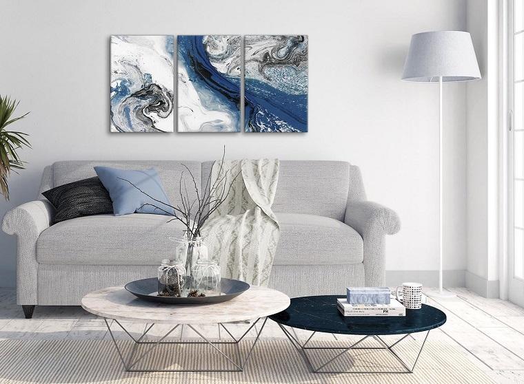 Blue wall art in living room