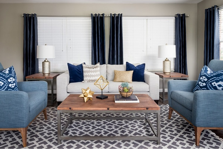 Living room with blue accessories