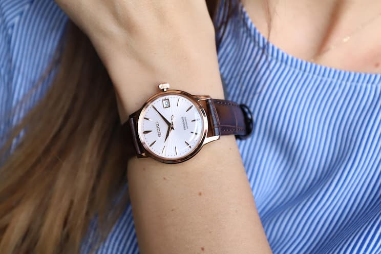 SEIKO PRESAGE Automatic Ladies Cocktail 'Bellini' Rose Gold Watch. This brand successfully designed the ultimate female watches that feature an elevated style, and functionality around the clock